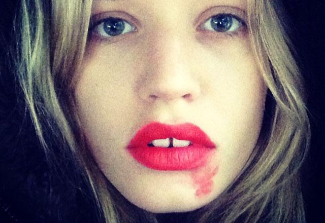 selfie con rossetto sbavato
