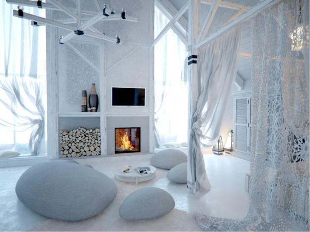interni total white look home