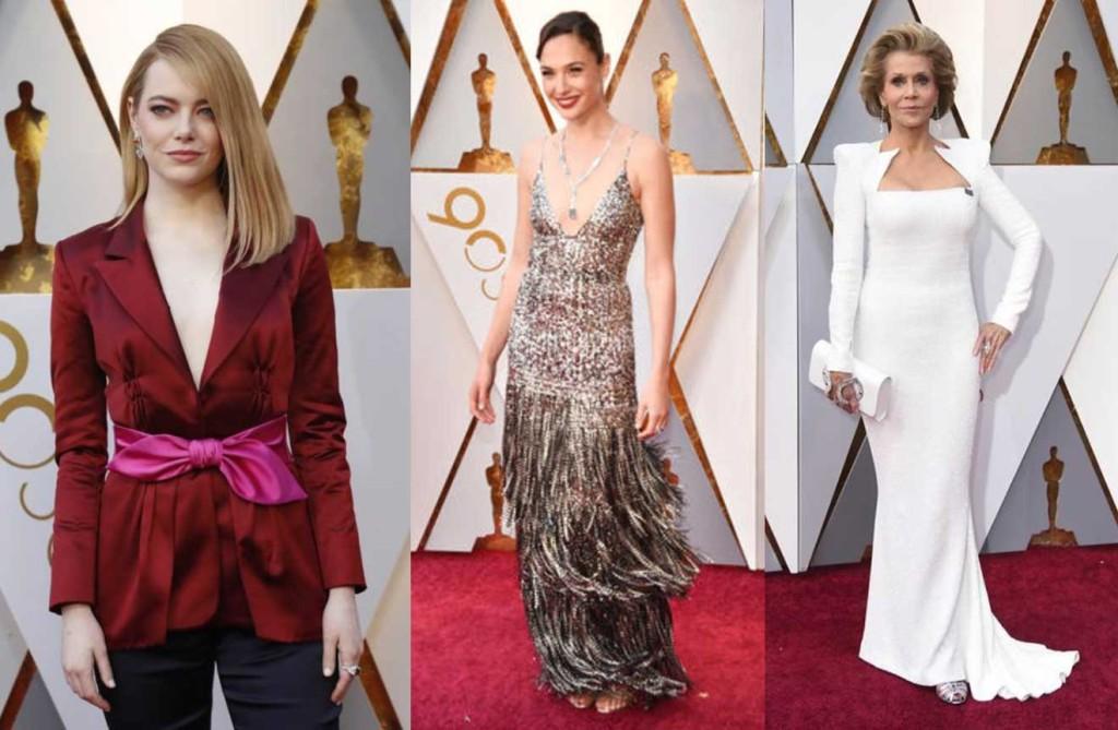 look red carpet Oscar 2018 emma stone gal gadot jane fonda